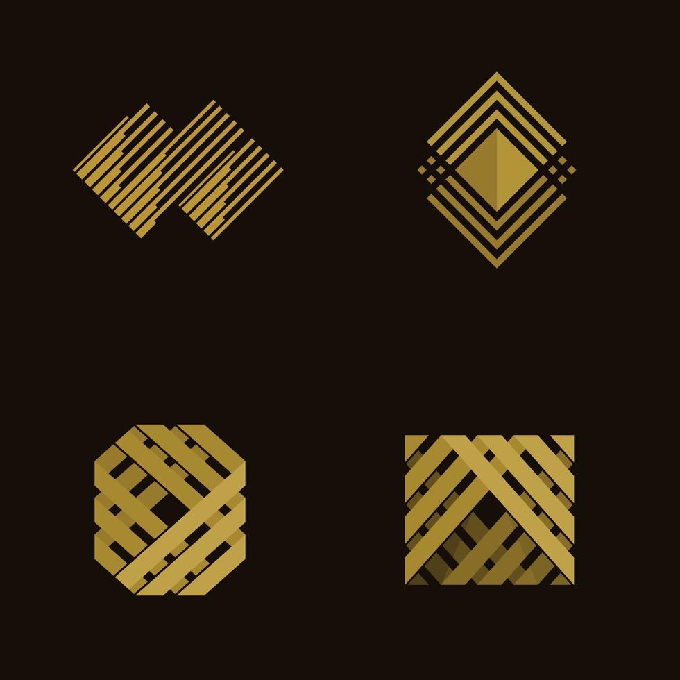 vintage modern houten frame logo vector