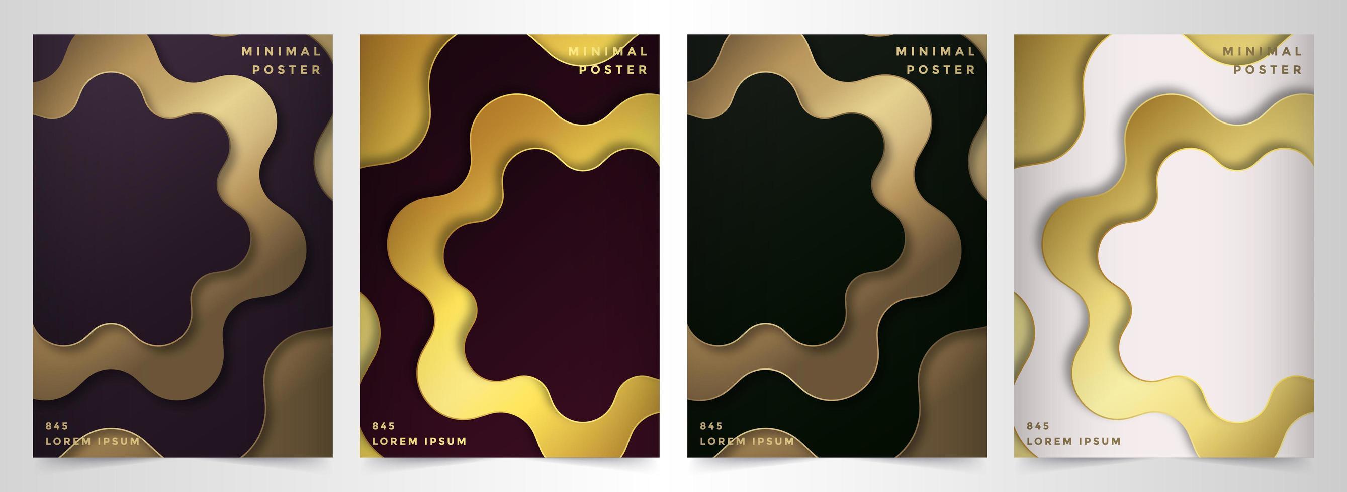 minimale poster set met gouden bloemenvormen vector