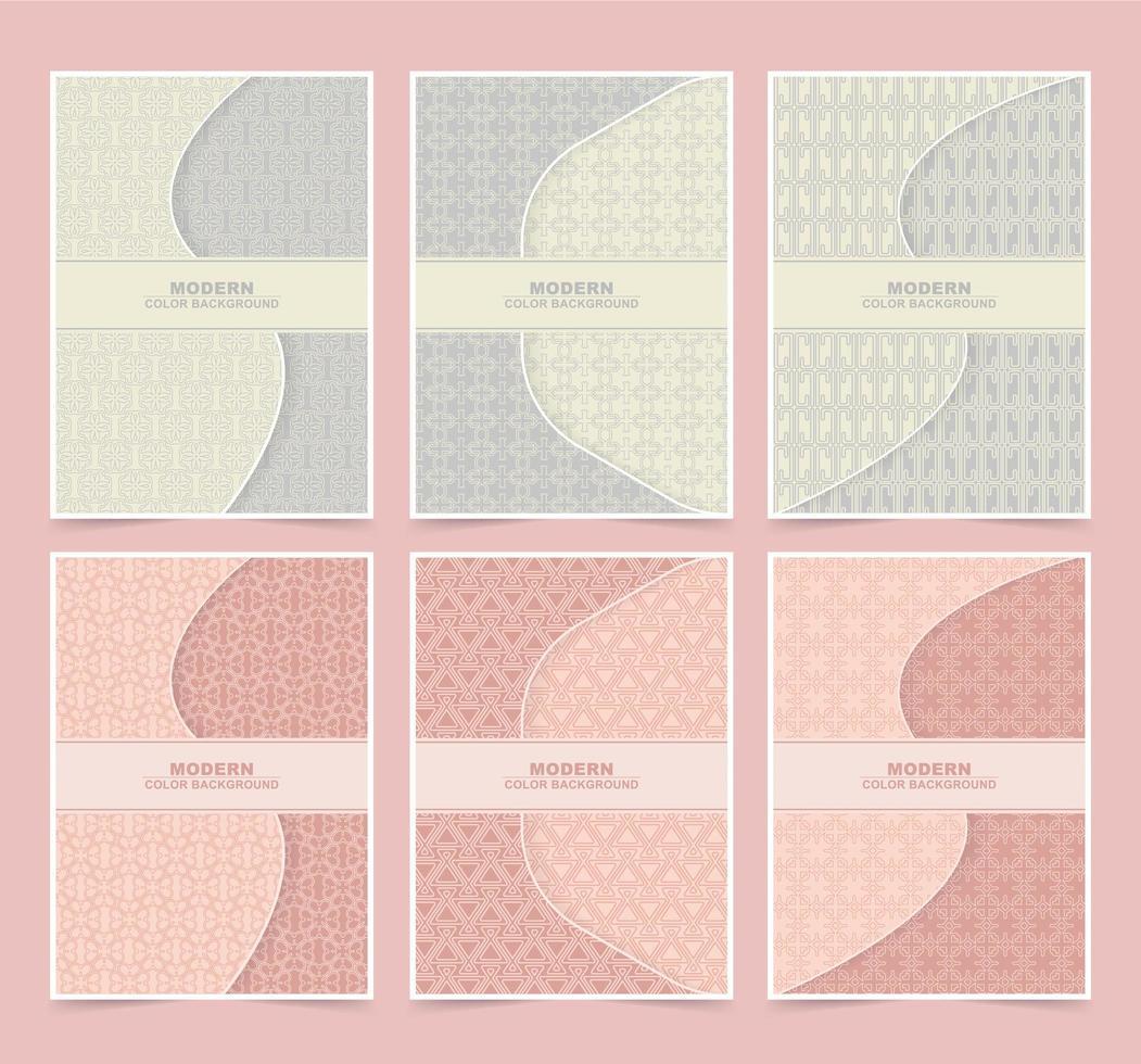 retro kleur patroon cover set vector