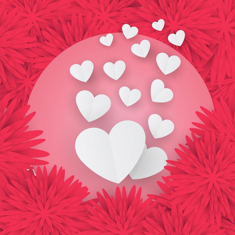 Valentijnsdag kaart met papier hartjes op florale achtergrond vector