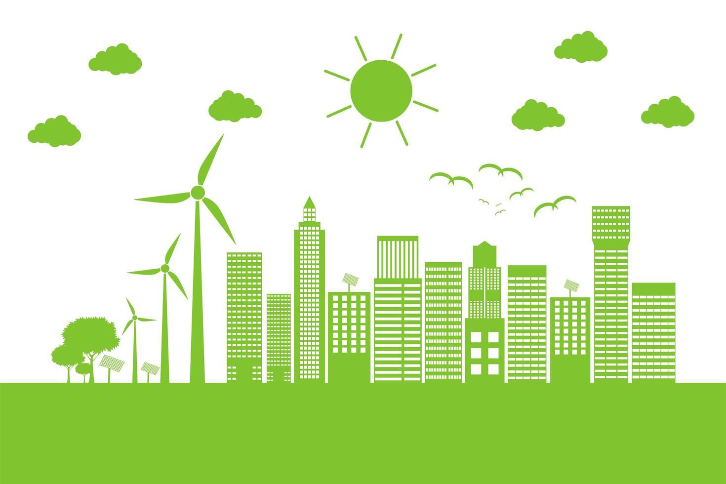 groene stadsgezicht met windturbines vector