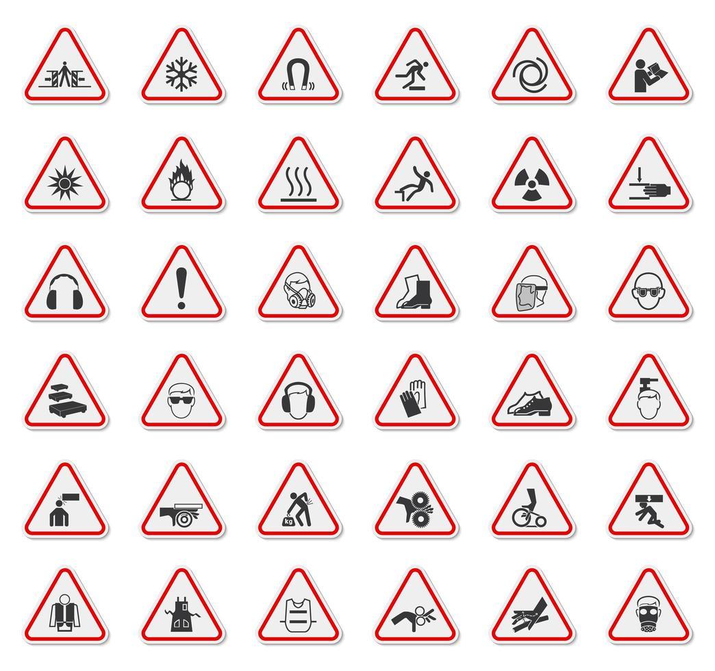 waarschuwingsbord met pictogrammen in rood geschetste driehoek vector