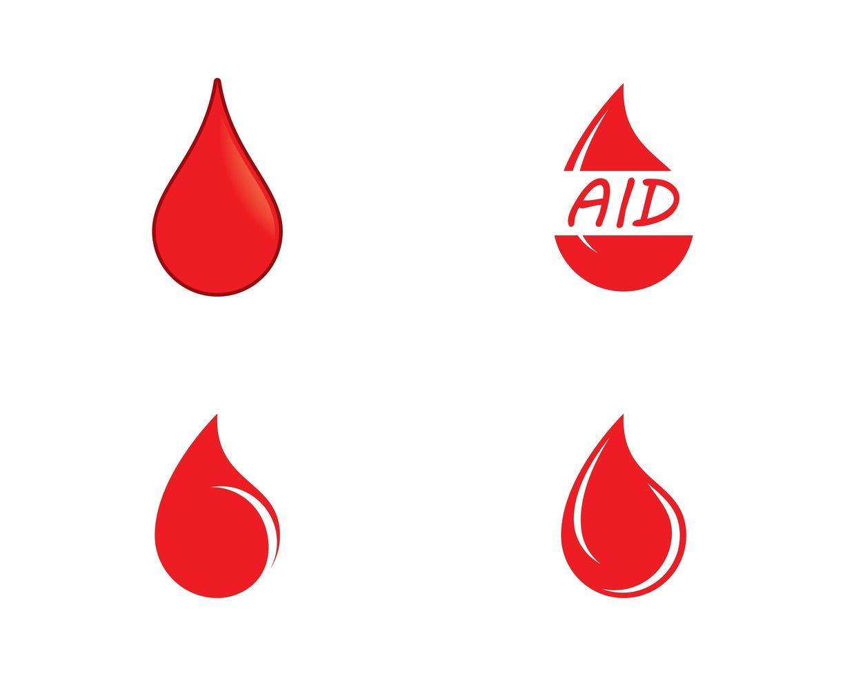 bloed drop icon set vector