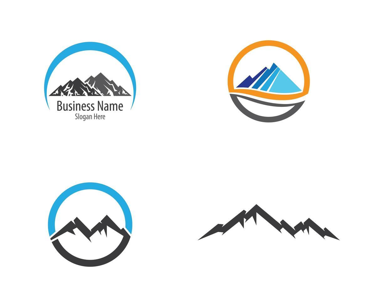 cirkelvormige berg logo set vector