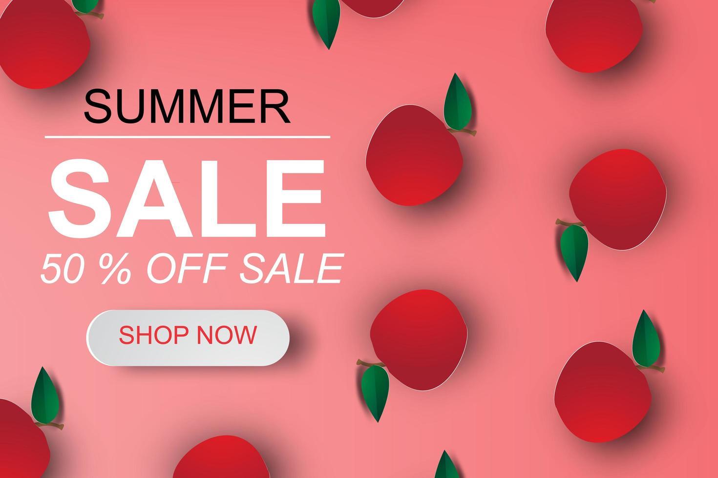 papier kunst appels op zomer verkoop poster vector