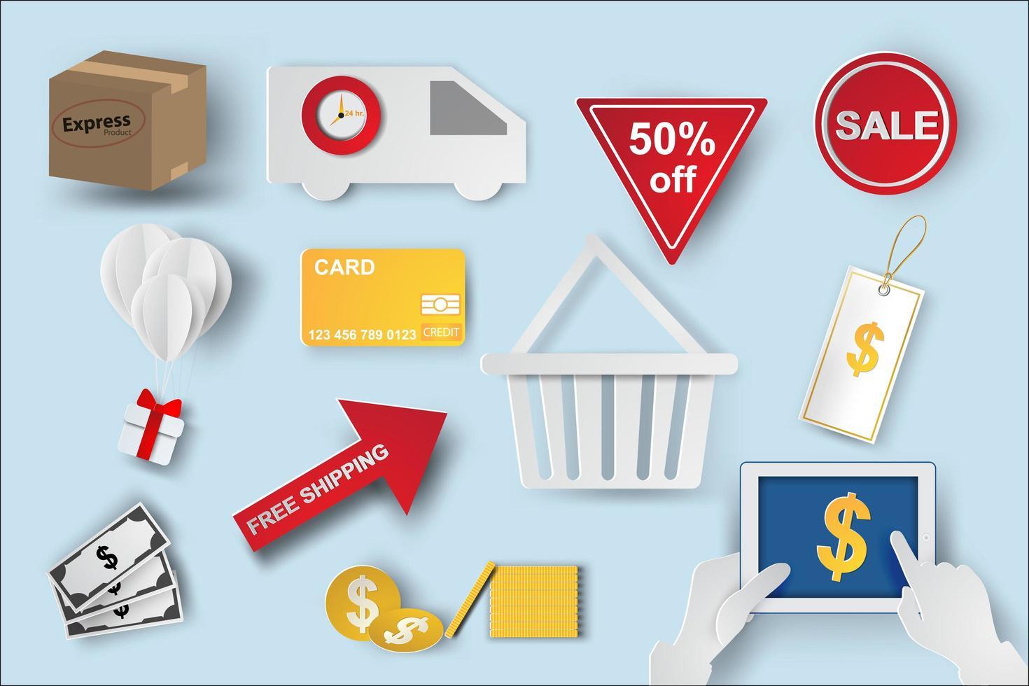 papier kunst e-commerce pictogrammen instellen vector