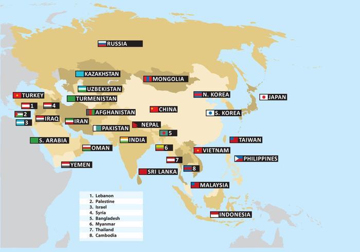 Azië Kaart Vector