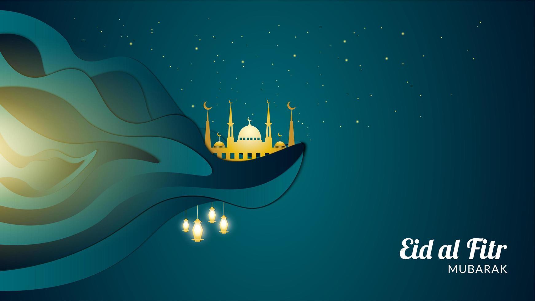 eid al-fitr met gouden moskee op een klif vector