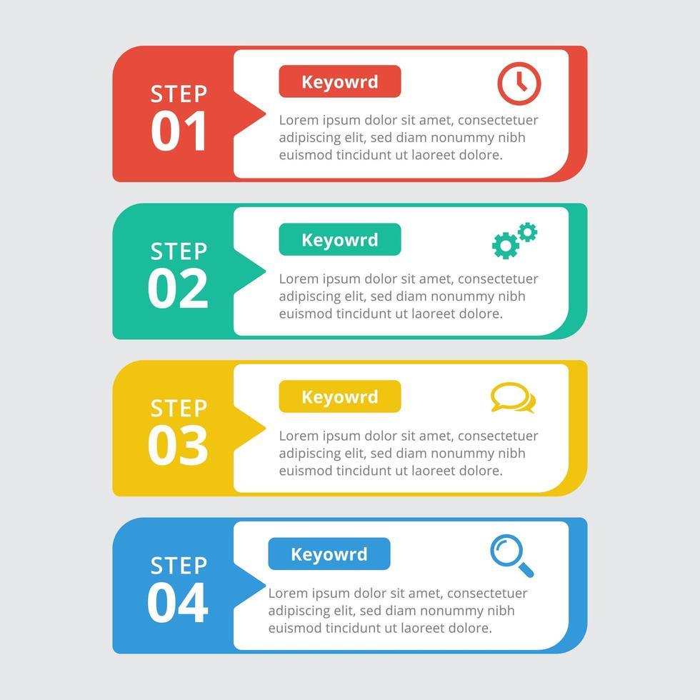 moderne kleurrijke 4-staps infographic sjabloon vector