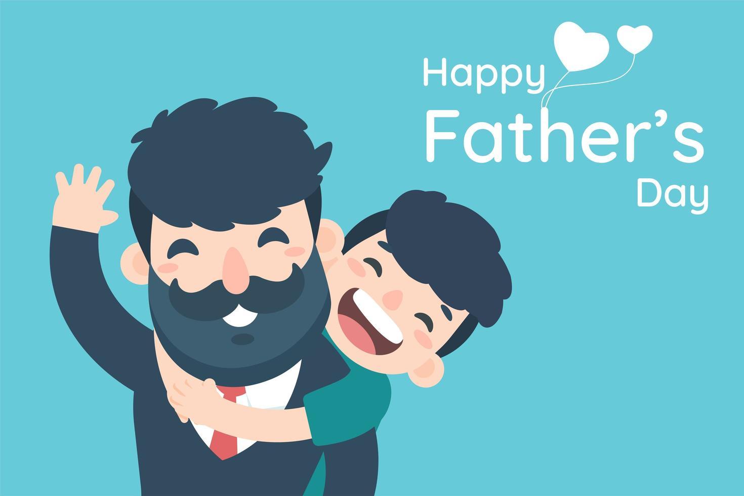 gelukkige vaderdag met jongen knuffelen vader van achteren vector