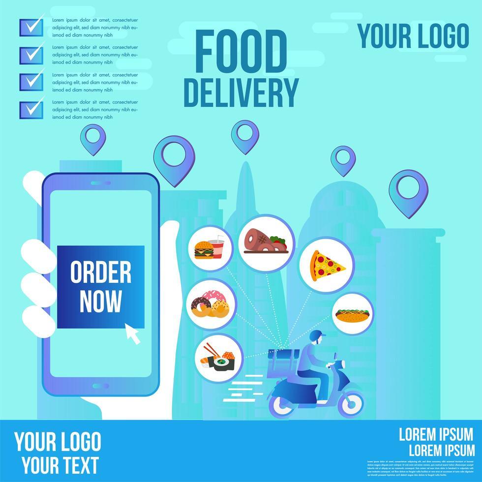 voedsel bezorging sociale media bannerontwerp vector