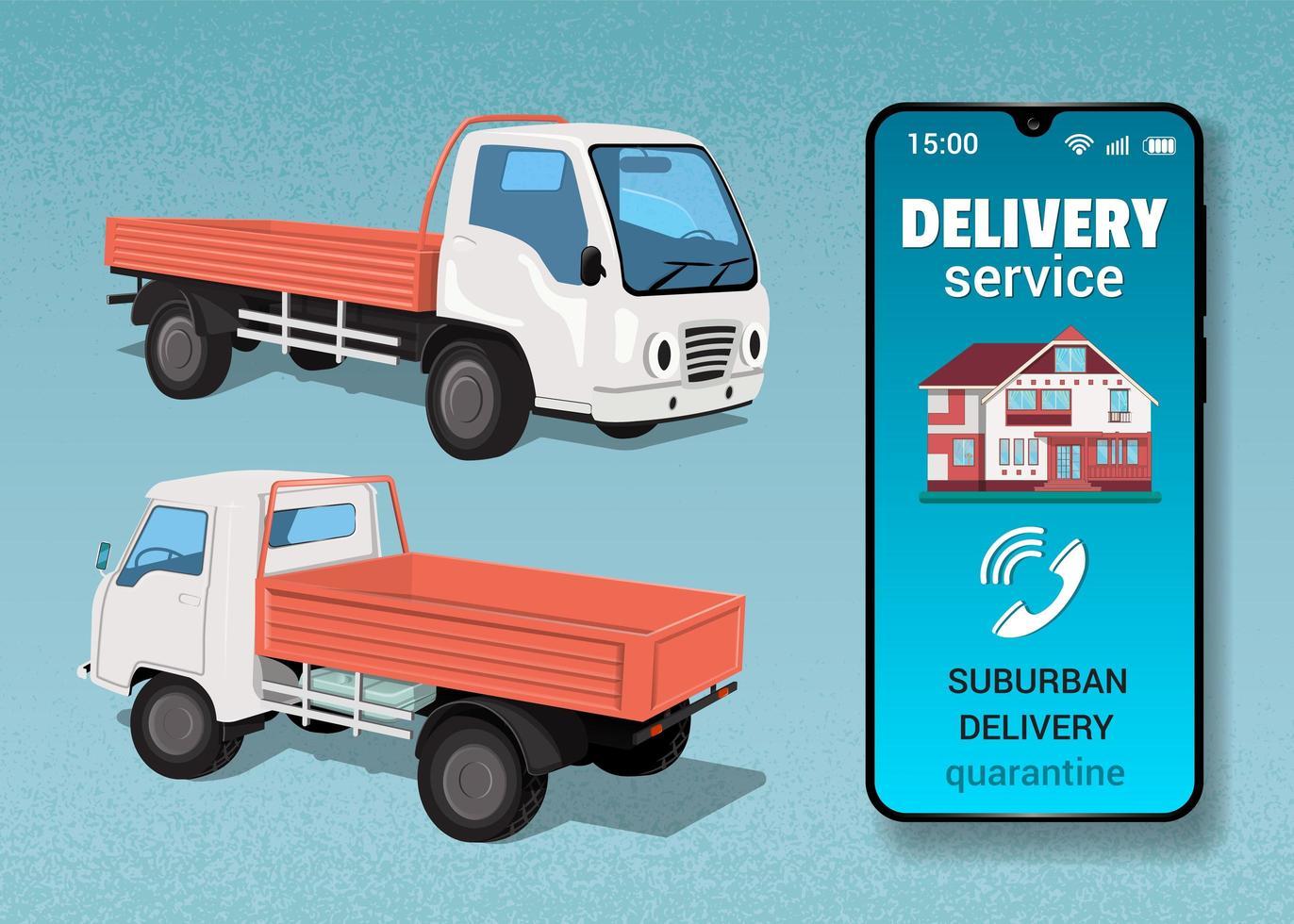 vrachtwagen en telefoon voor levering buiten de stad vector