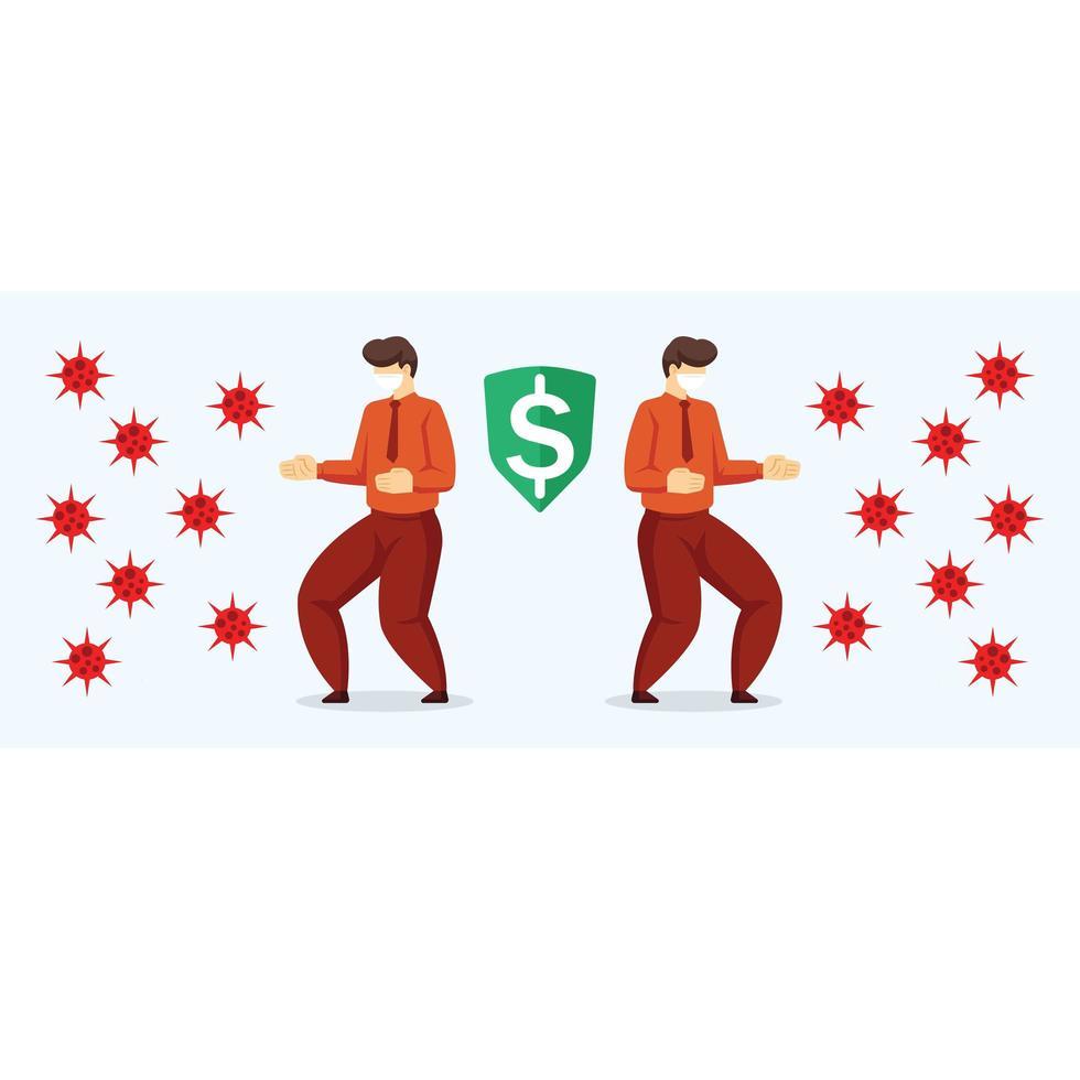 twee zakenlieden die geld beschermen tegen coronavirus vector