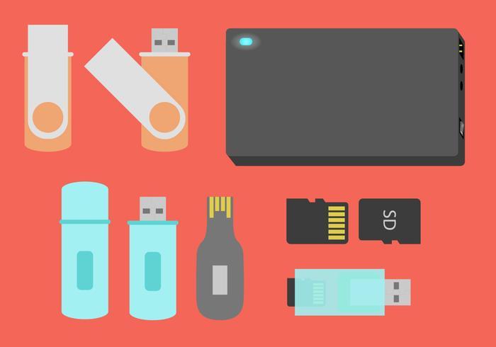 Pen Drive Storage Devices Flat Illustratie Vector