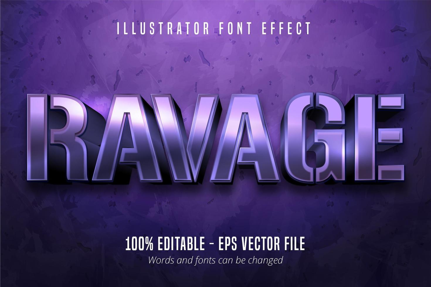 verwoest tekst, 3d paars metallic stijl bewerkbaar lettertype-effect vector