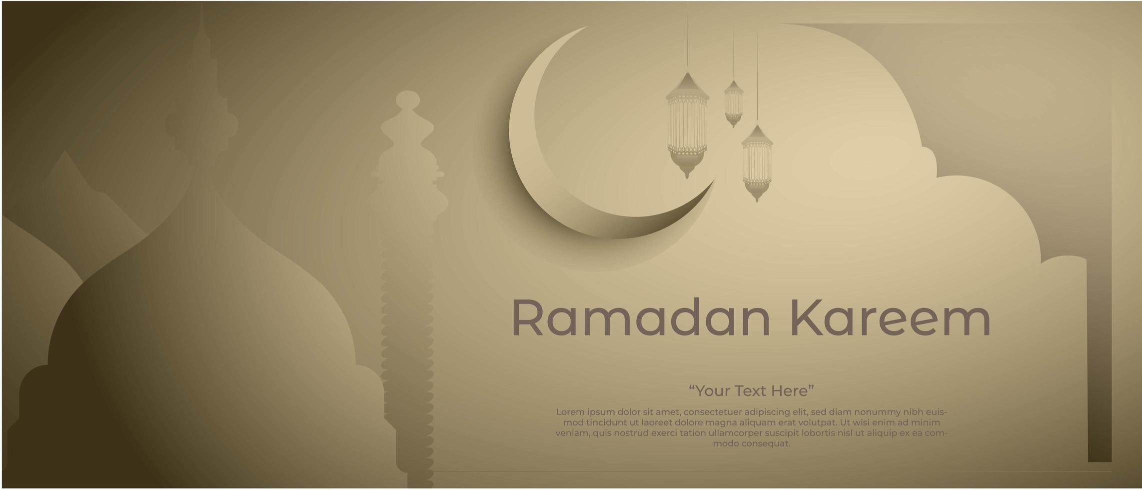 ramadan kareem achtergrond met moskee lantaarn en prachtige maan vector