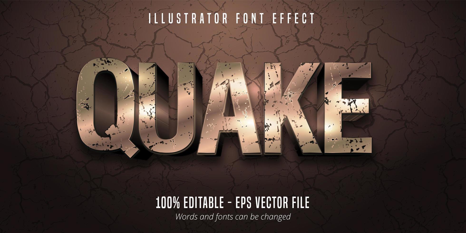 aardbeving 3D-stijl bewerkbaar lettertype-effect vector