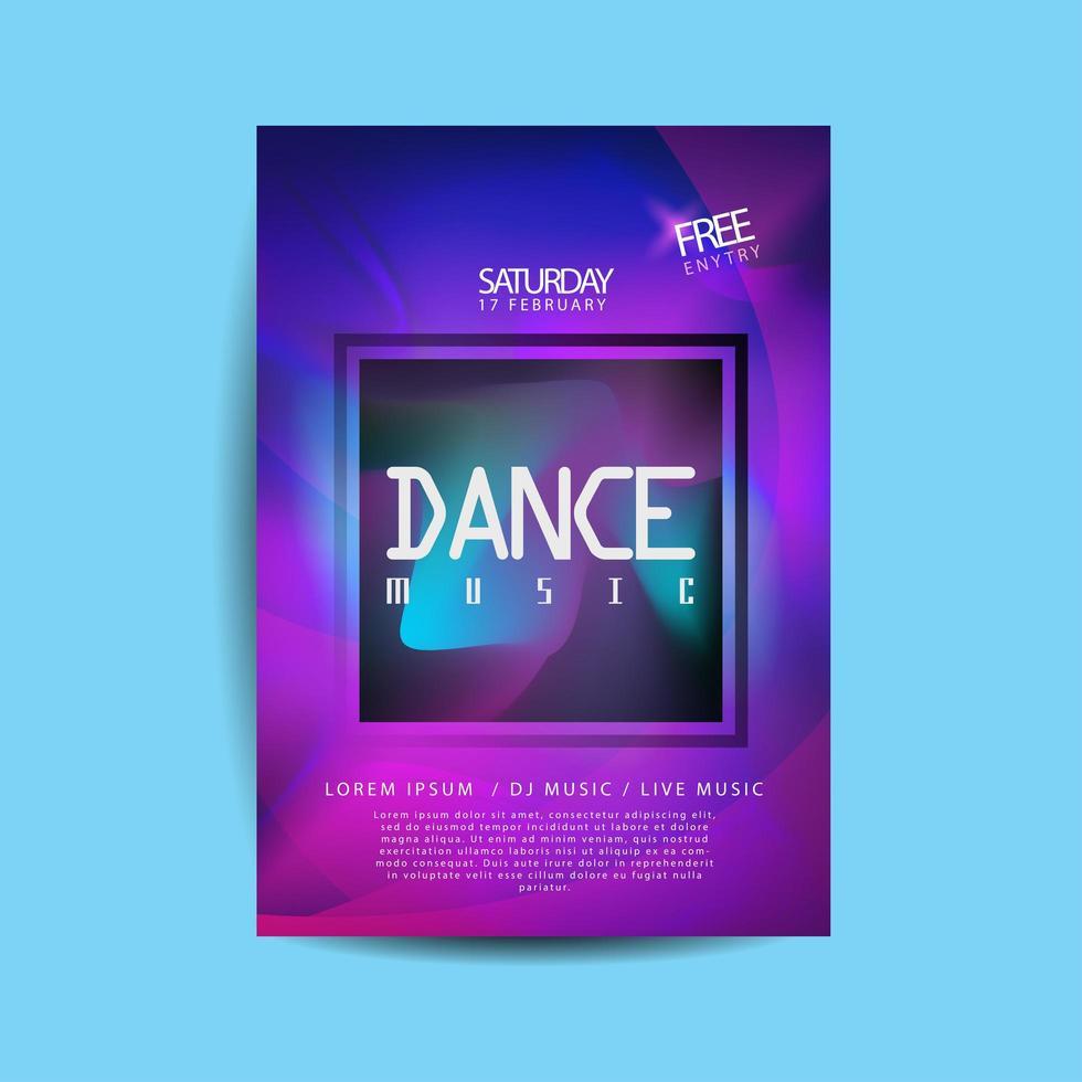paarse advertentie blauwe gradiënt dansmuziek flyer vector