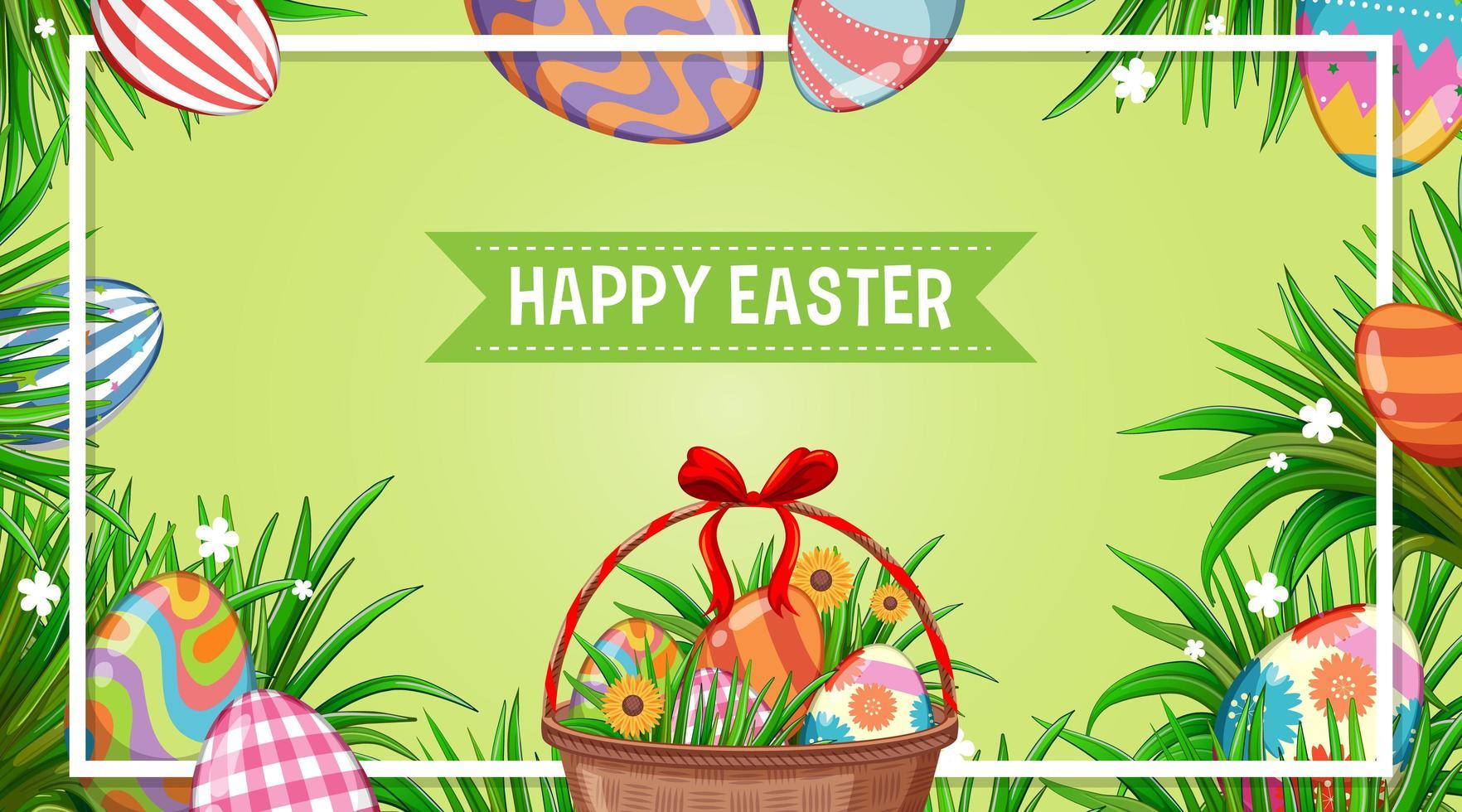 Pasen poster met versierde eieren in de tuin vector