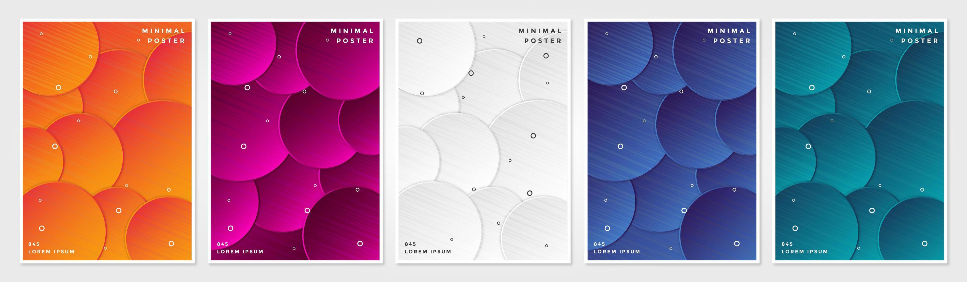 kleurrijke gelaagde cirkel cover set vector