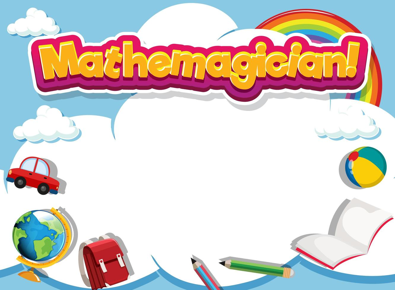educatieve kadersjabloon met woord mathemagicain vector