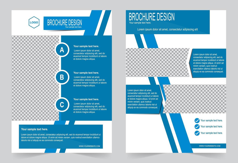 blauwe en witte hoek ontwerpsjabloon brochure vector