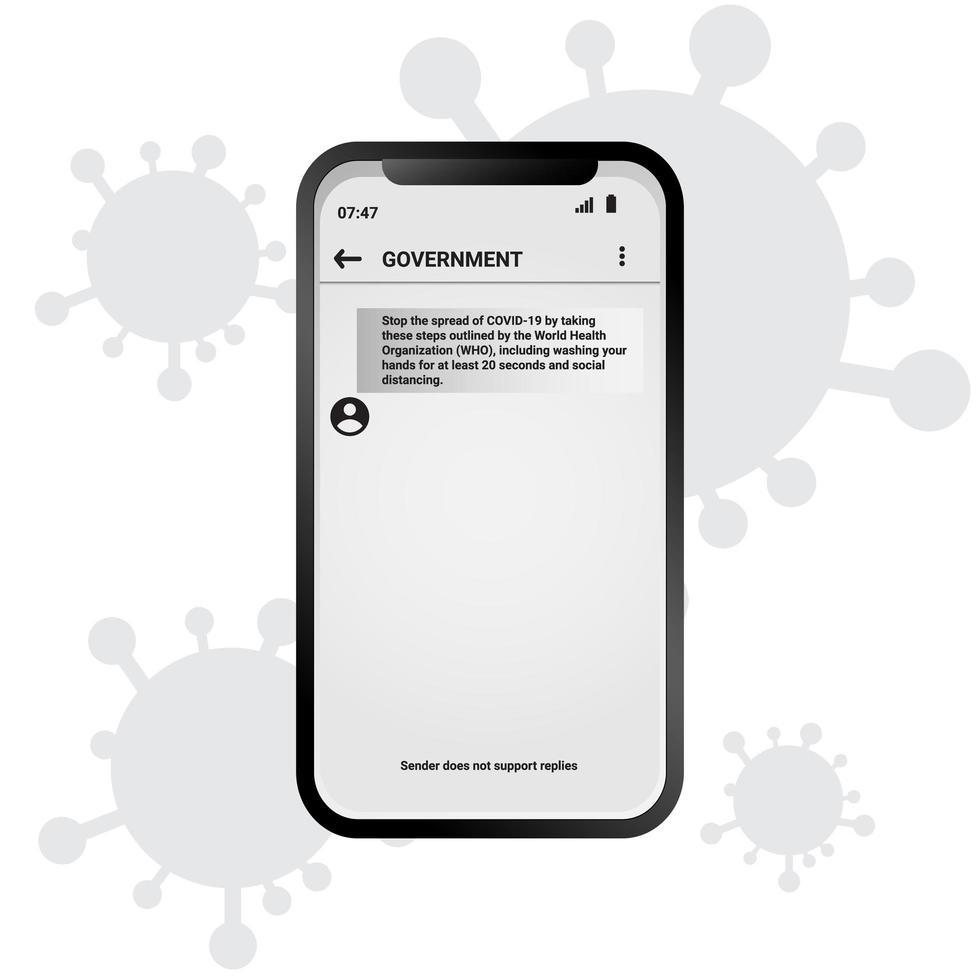 mobiel coronabirusinformatiebericht vector