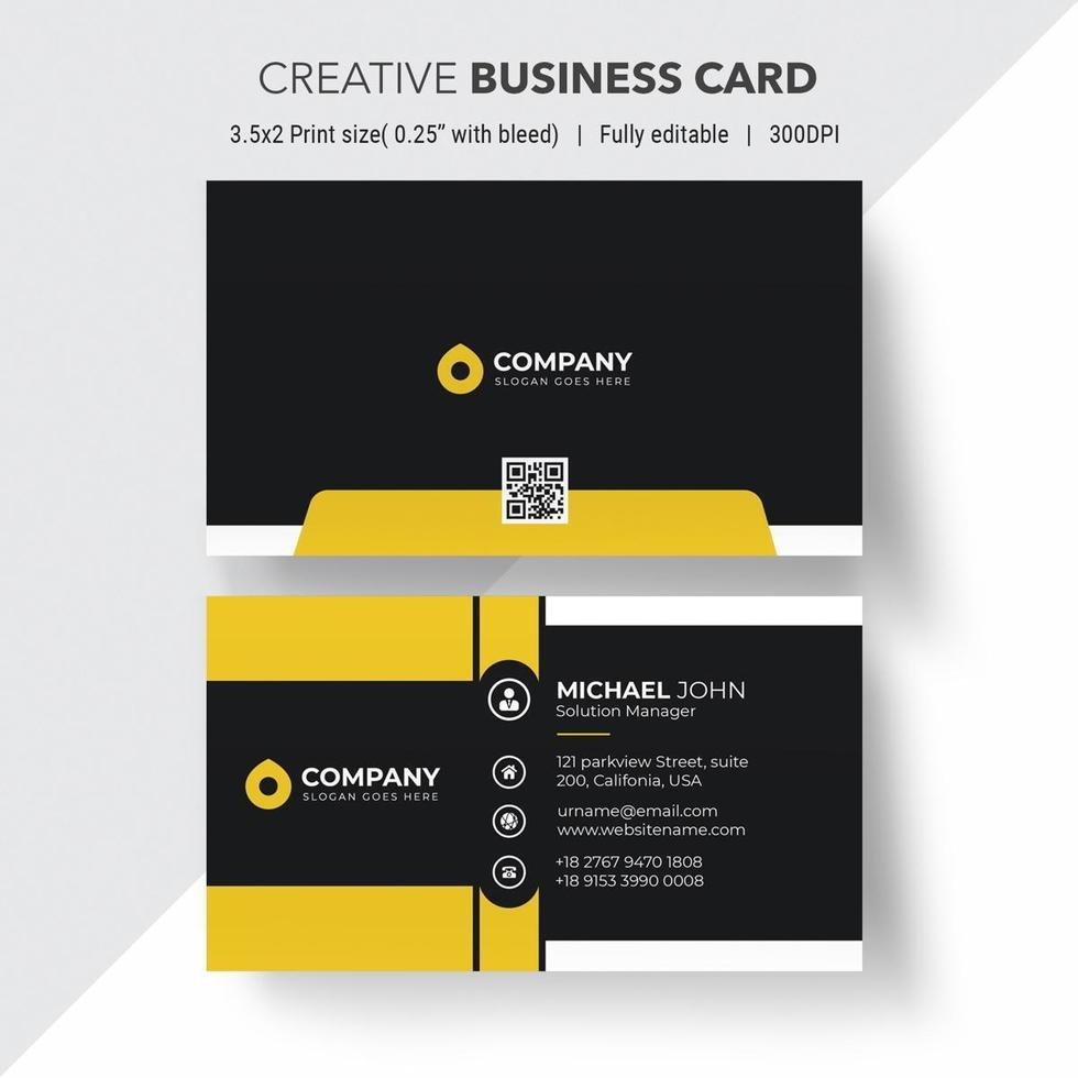 zwart en geel visitekaartje met witte randen vector
