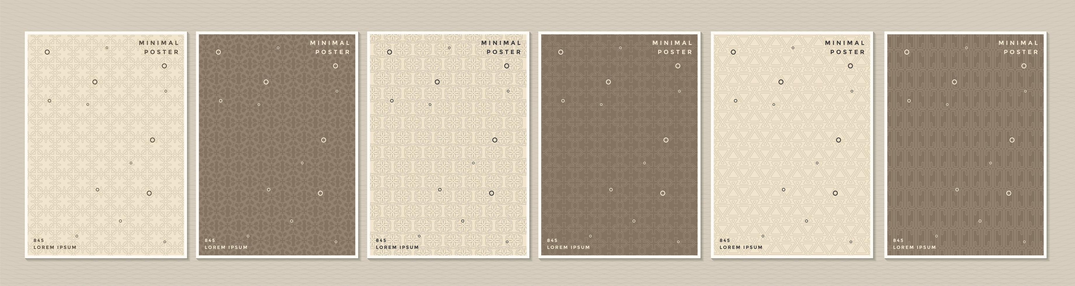 bruin en crème patroon cover of poster set vector