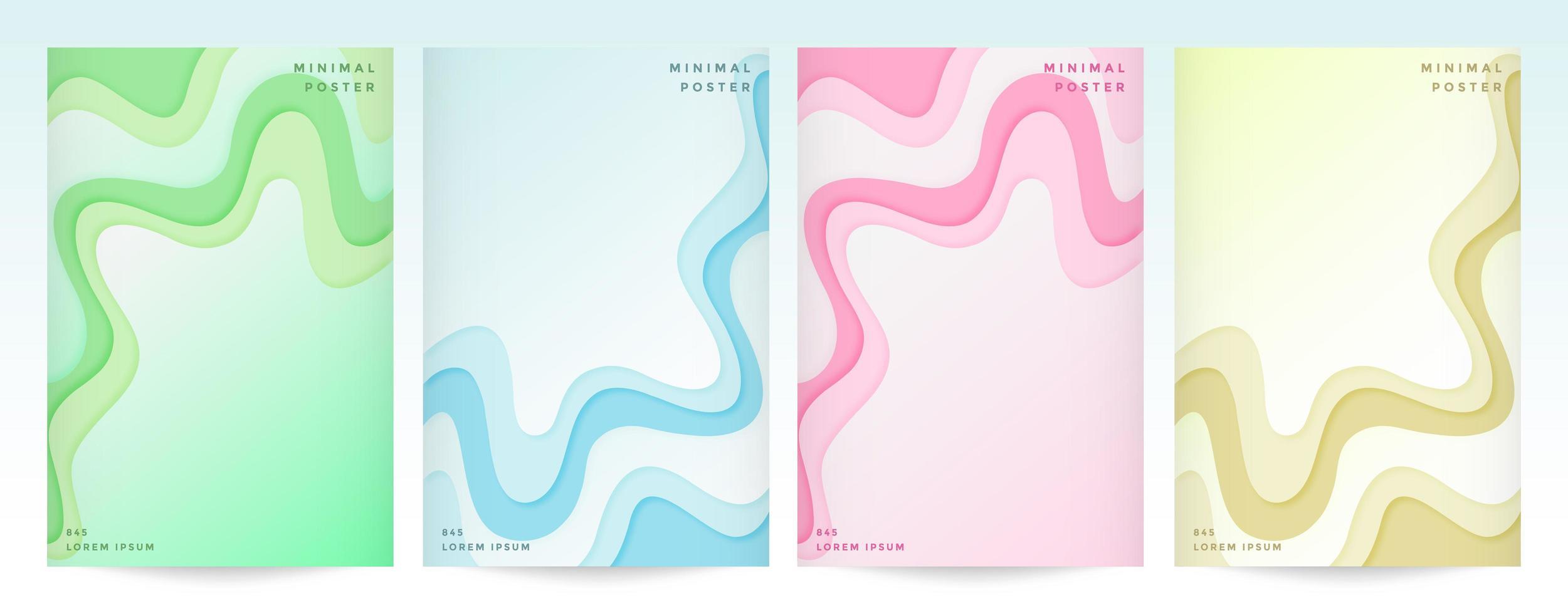 set cover abstracte stijl papier gesneden achtergronden vector