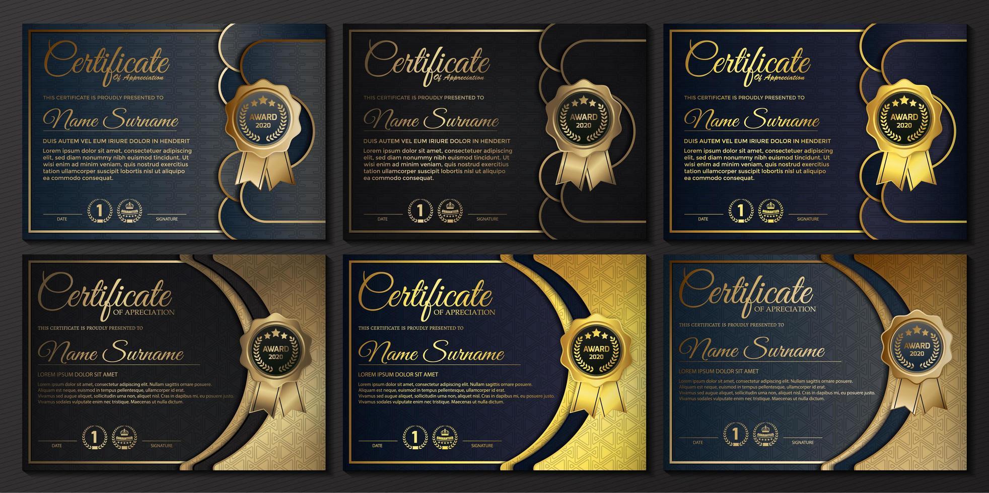 lidmaatschapscertificaat beste award diploma set. vector
