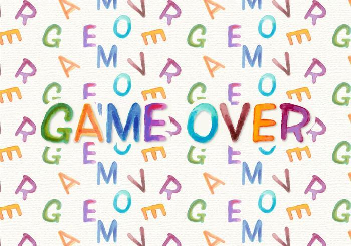 Game Over Gratis Waterverf Vector Achtergrond