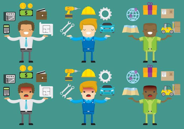 Gelukkige En Angry Worker Vector Karakters