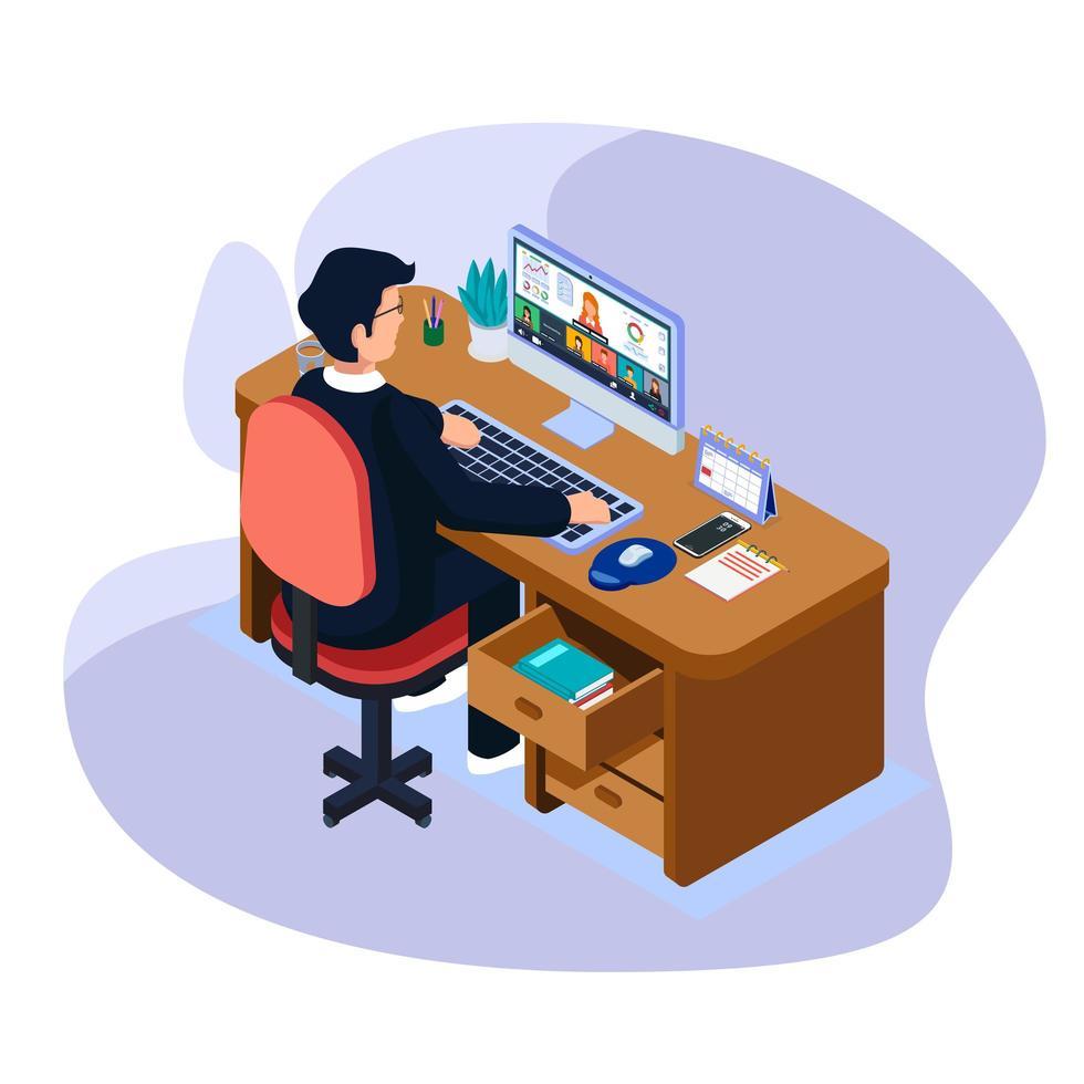 zakenman doen videoconferentie en kijken naar kantoorrapport van teamwerk vector