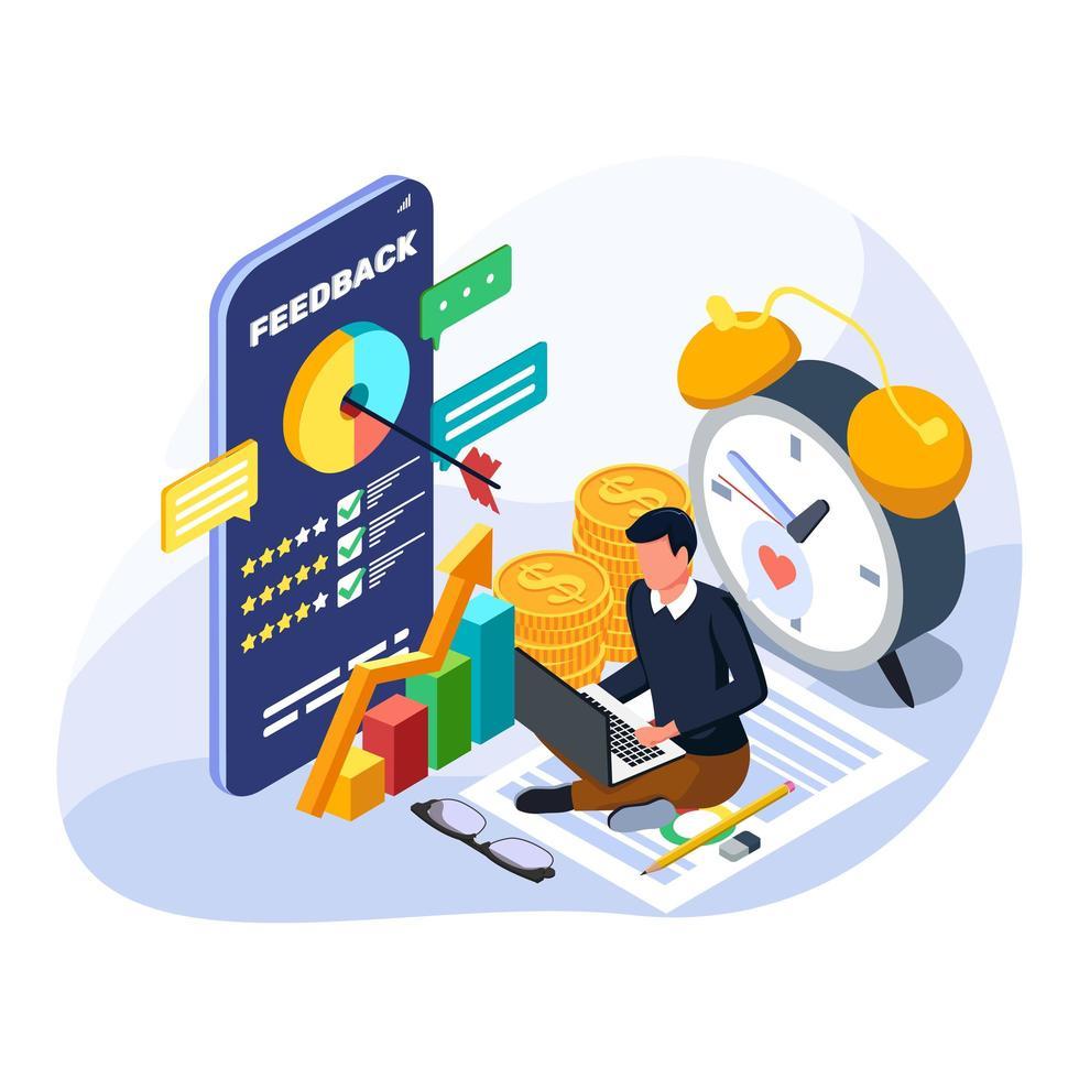 man succes om zijn financiële groei te beheren. isometrische financieel beheer illustratie. vector