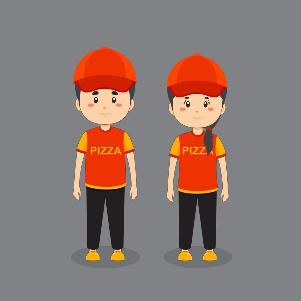 koppel karakter draagt een pizza uniform vector