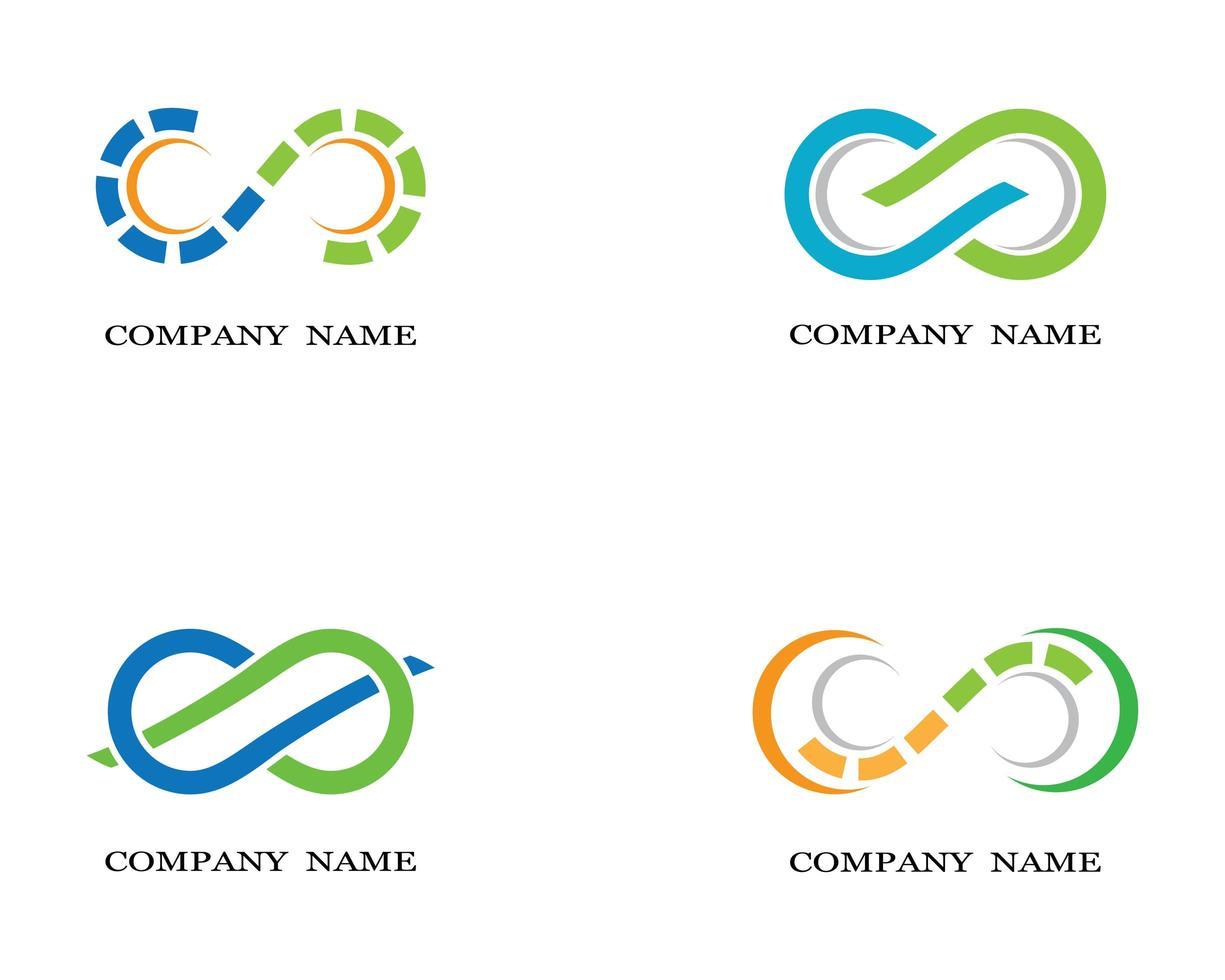 blauw, groen, oranje oneindigheidssymbool logo's vector