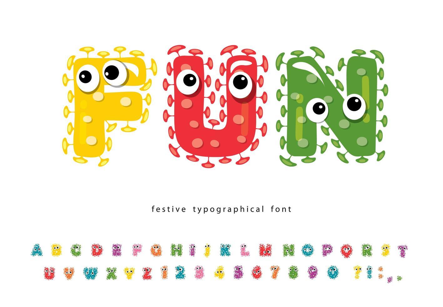 grappig lettertype voor kinderen met schattige monster karakters vector