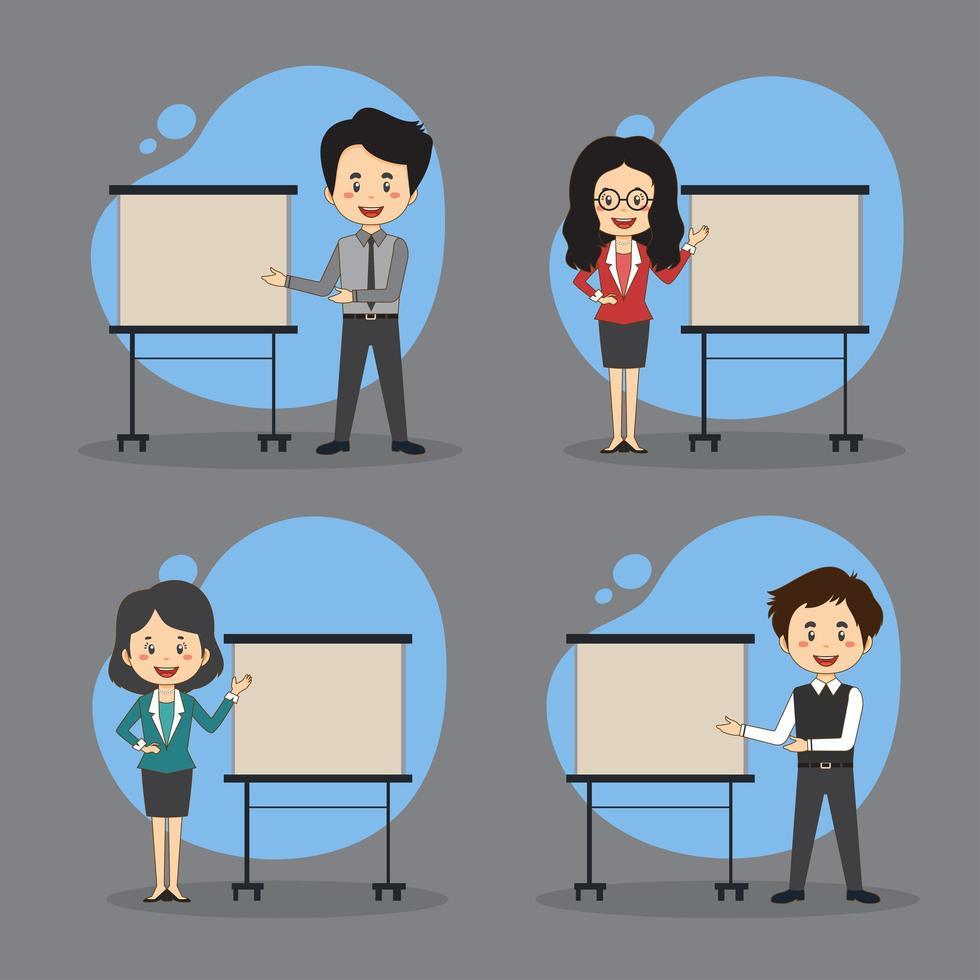 set van mensen uit het bedrijfsleven presenteren vector