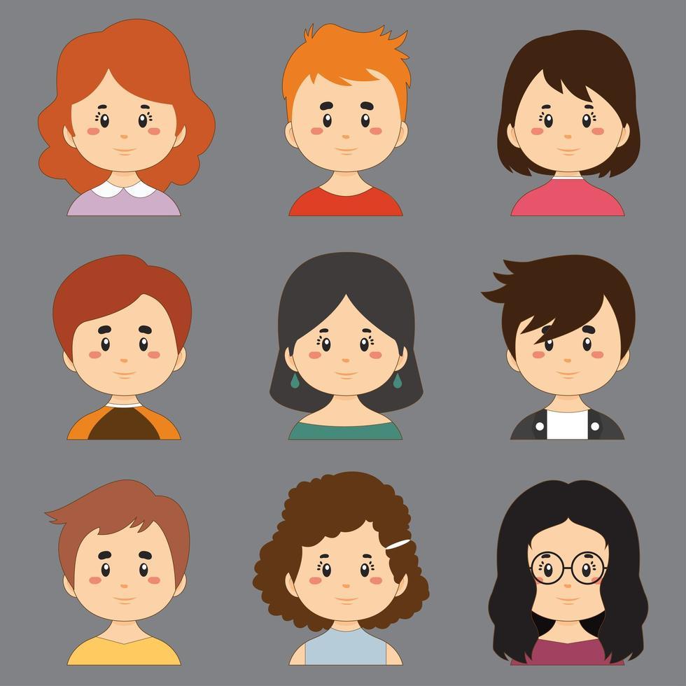 kleurrijke collectie met een grote variëteit aan avatars vector