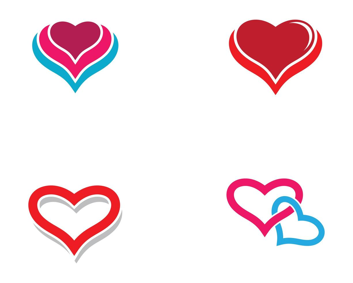 liefde hart logo set vector