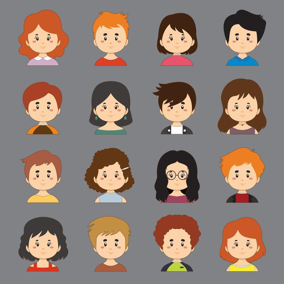 een set van kleurrijke collectie met grote verscheidenheid aan avatars vector