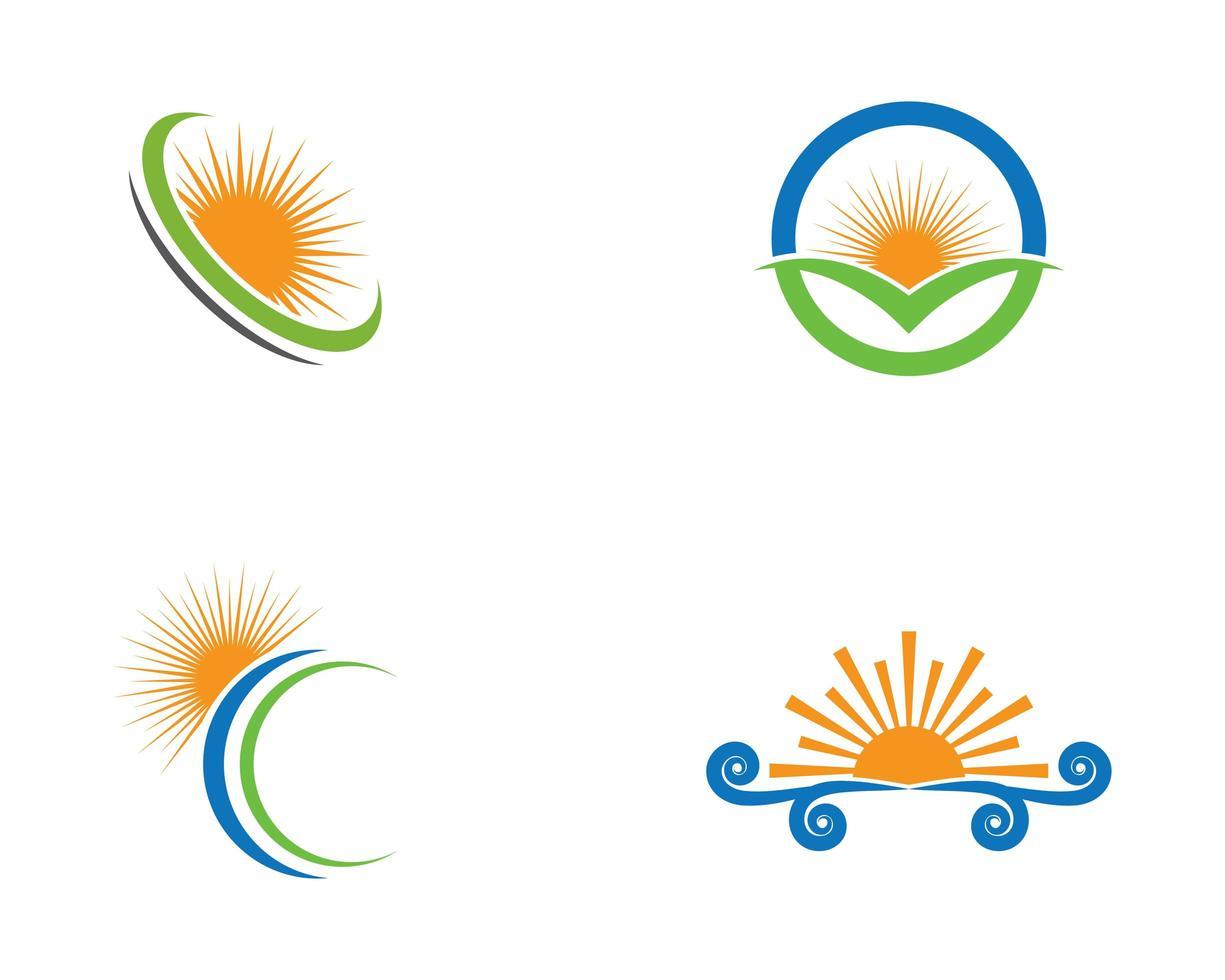oranje, blauwe, groene zonlogo's vector