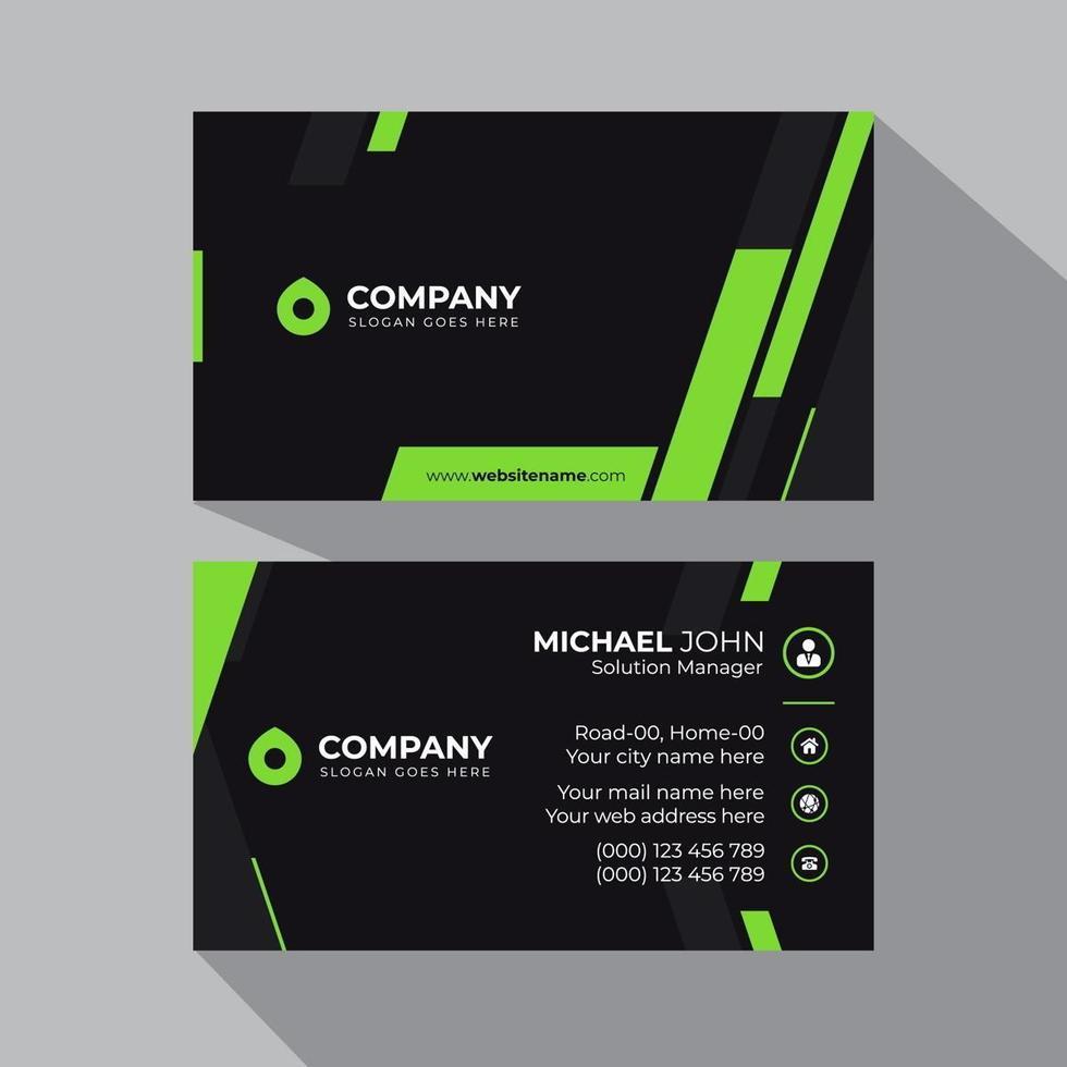 visitekaartje groen en zwart vet sjabloon vector