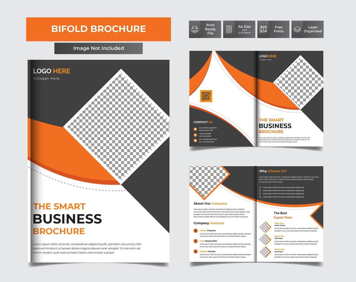 moderne zakelijke tweevoudige brochure vector sjabloonontwerp in a4 gemakkelijk te bewerken brochure tijdschrift voorpagina ontwerp