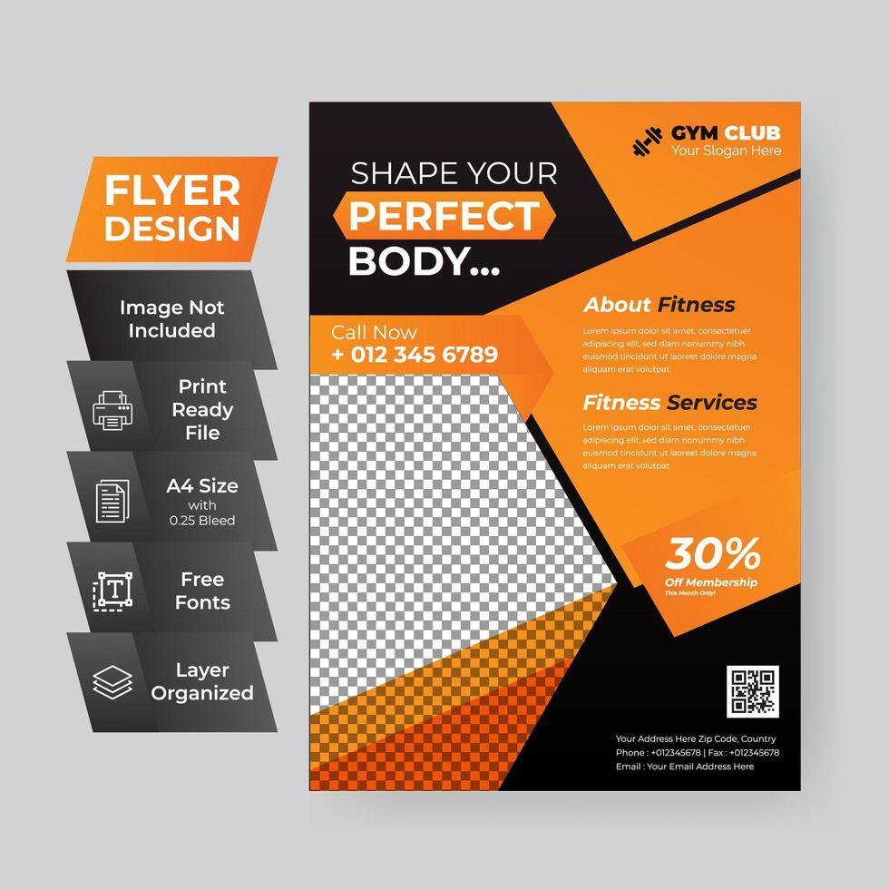 zwart en oranje flyer vector