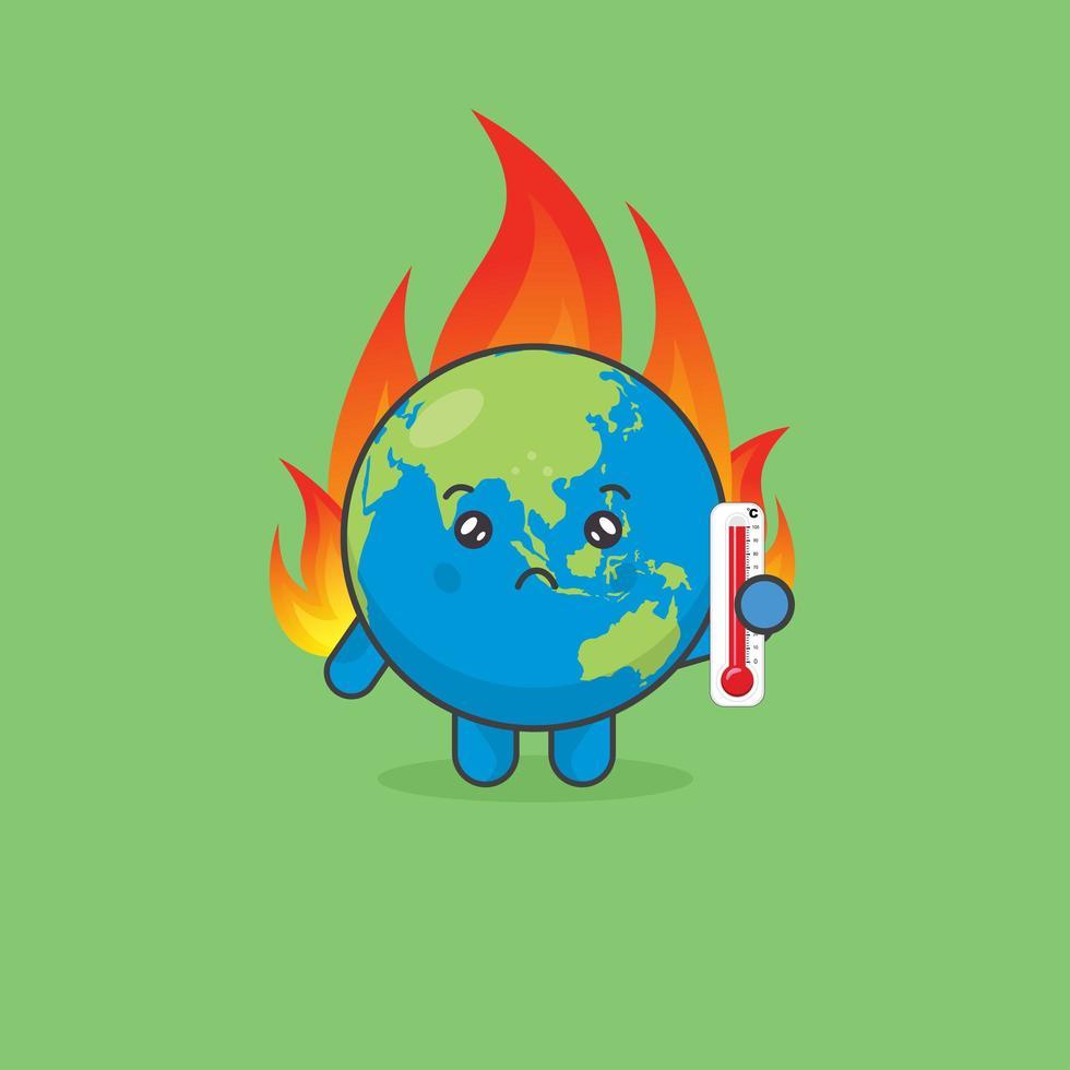 opwarming van de aarde met aardkarakter in brand vector