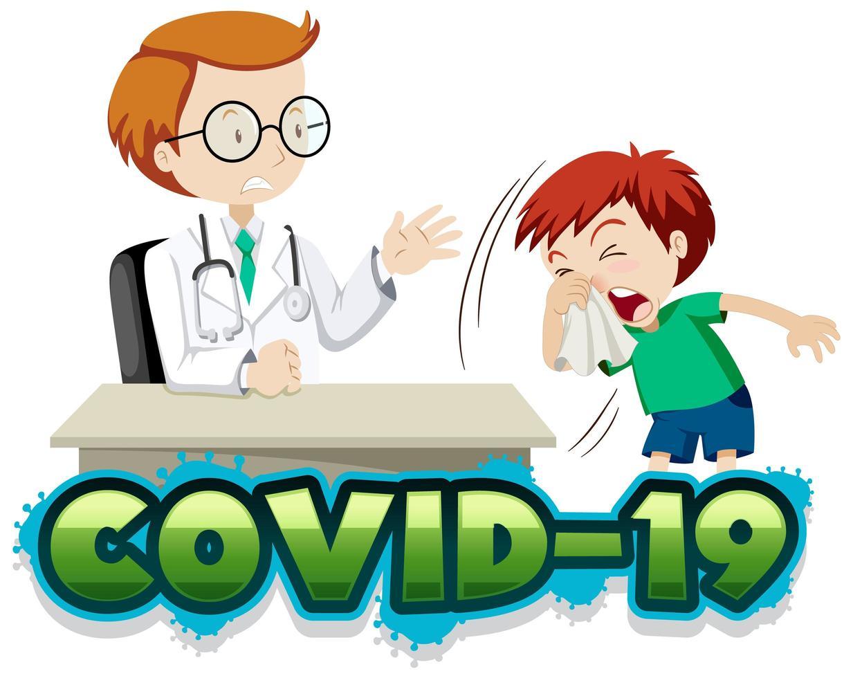 covid-19 poster met dokter en hoestende jongen vector