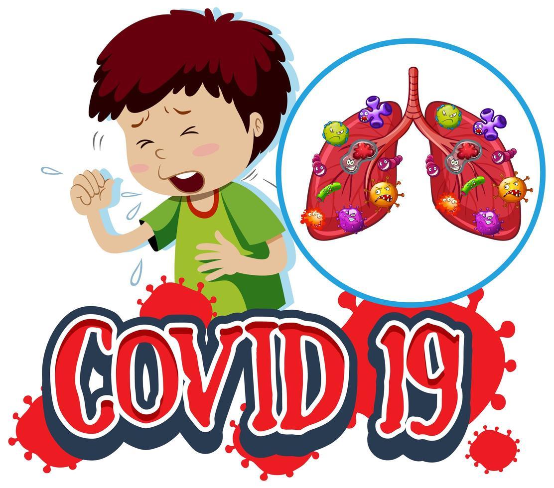 covid-19 bord met hoestende jongen en geïnfecteerde longen vector
