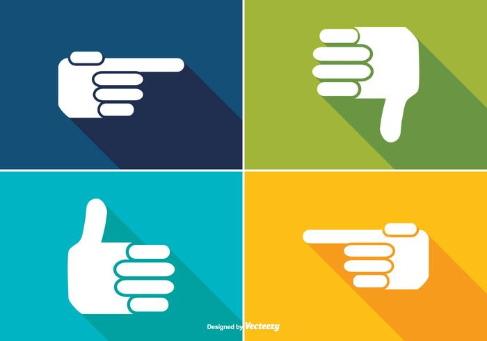 Trendy Long Shadow Style Hand Pictogrammen vector